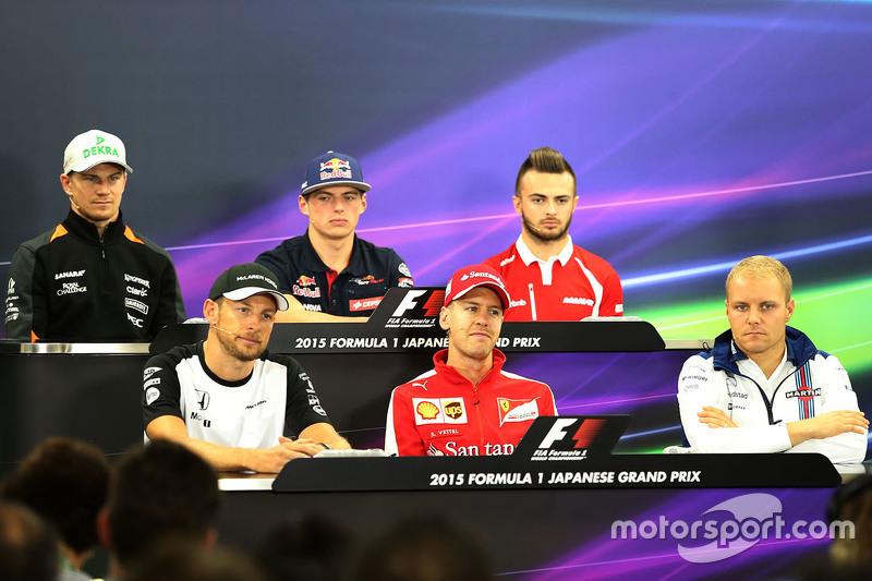 Press conference, Jenson Button, McLaren, Sebastian Vettel, Scuderia Ferrari, Valtteri Bottas, Willi