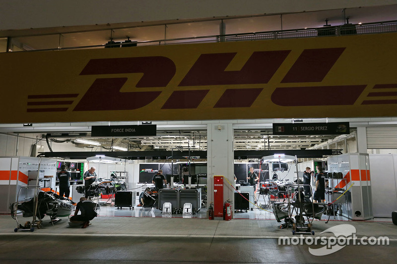 The Sahara Force India F1 Team pit garages at night