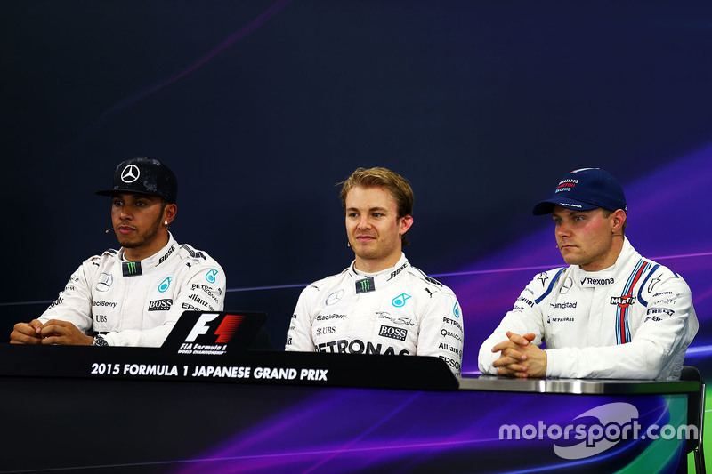Press conference: polesitter Nico Rosberg, Mercedes AMG F1 Team, second place Lewis Hamilton, Mercedes AMG F1 Team, third place Valtteri Bottas, Williams