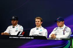 Пресс-конференция: обладатель поула: Нико Росберг, Mercedes AMG F1 Team, второе место - Льюис Хэмилтон, Mercedes AMG F1 Team, третье место - Валттери Боттас, Williams