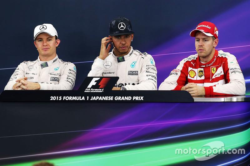 Pressekonferenz: 1. Lewis Hamilton, Mercedes AMG F1 Team; 2. Nico Rosberg, Mercedes AMG F1 Team; 3. Sebastian Vettel, Ferrari