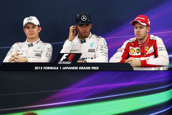 Press conference: Race winner Lewis Hamilton, Mercedes AMG F1 Team, second place Nico Rosberg, Mercedes AMG F1 Team, third place Sebastian Vettel, Ferrari