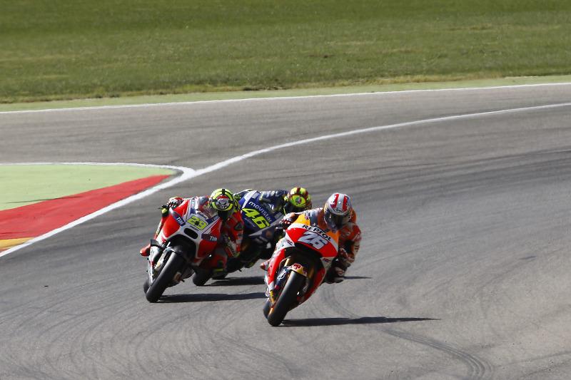 Dani Pedrosa, Repsol Honda Team and Andrea Iannone, Ducati Team and Valentino Rossi, Yamaha Factory
