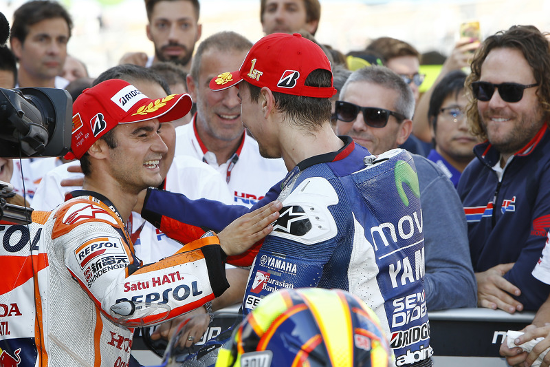 Second place Dani Pedrosa, Repsol Honda Team and winner Jorge Lorenzo, Yamaha Factory Racing