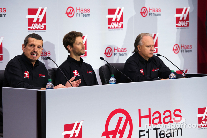 Gunther Steiner, Haas F1 Team principal, Romain Grosjean, Haas F1 Team and Gene Haas, Haas F1 Team
