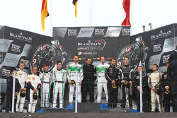 Podium: winners Marco Seefried, Norbert Siedler, Rinaldi Racing, second place Maximilian Buhk, Vincent Abril, Bentley Team HTP, third place Patrick Kujala, Mirko Bortolotti, GRT Grasser Racing Team