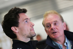 (L to R): Jolyon Palmer, Lotus F1 Team Test and Reserve Driver with his father Jonathan Palmer,