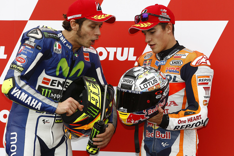 Qualifying: second place Valentino Rossi, Yamaha Factory Racing, third place Marc Marquez, Repsol Honda Team