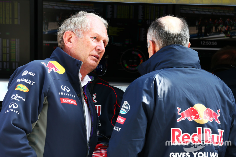 (L to R): Dr Helmut Marko, Red Bull Motorsport Consultant with Franz Tost, Scuderia Toro Rosso Team