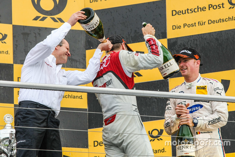 Podium, Jamie Green, Winner, Timo Scheider , Audi Sport Team Phoenix Audi RS 5 DTM and Maxime Martin , BMW Team RMG BMW M4 DTM