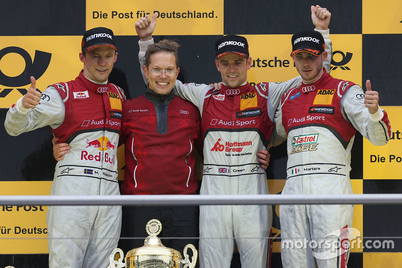 Podium: race winner Jamie Green, Audi Sport Team Rosberg, second place Mattias Ekström, Audi Sport Team Abt Sportsline, third place Edoardo Mortara, Audi Sport Team Abt