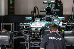 The Mercedes AMG F1 W06 of Lewis Hamilton, Mercedes AMG F1 is prepared in the pits