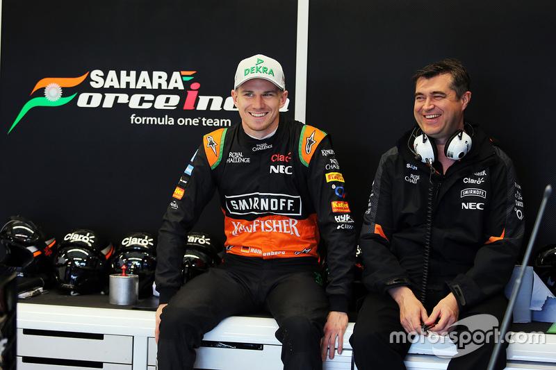 (L to R): Nico Hulkenberg, Sahara Force India F1 with Bradley Joyce, Sahara Force India F1 Race Engineer