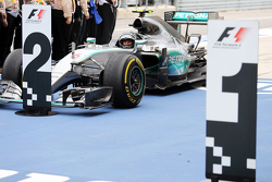 Second placed Nico Rosberg, Mercedes AMG F1 arrives in parc ferme