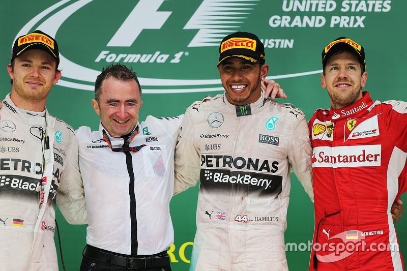 Podium: Race winner and World Champion Lewis Hamilton, Mercedes AMG F1, with second place Nico Rosberg, Mercedes AMG F1 W06 and third place Sebastian Vettel, Ferrari