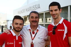 Will Stevens, Manor Marussia F1 Team con Nigel Mansell,  y Alexander Rossi, Manor Marussia F1 Team