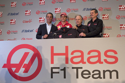 Carlos Slim, President of America Movil, Esteban Gutierrez Team Haas, Gene Haas, owner of the team and Guenther Steiner, Team Director