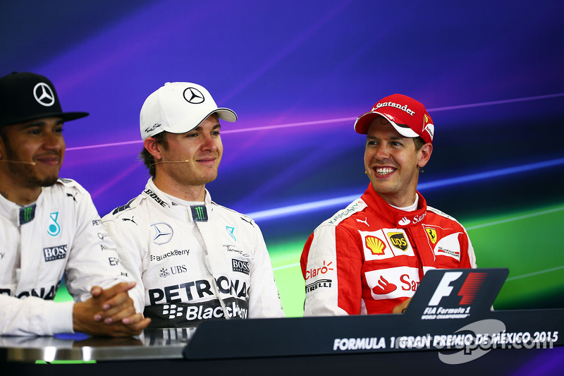 Polesitter Nico Rosberg, Mercedes AMG F1 and third place Sebastian Vettel, Ferrari and second place