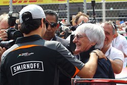 Sergio Perez, Sahara Force India F1 VJM08 with Bernie Ecclestone, on the drivers parade.
