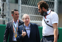 Jean Todt, FIA President with Matteo Bonciani, FIA Media Delegate on the grid
