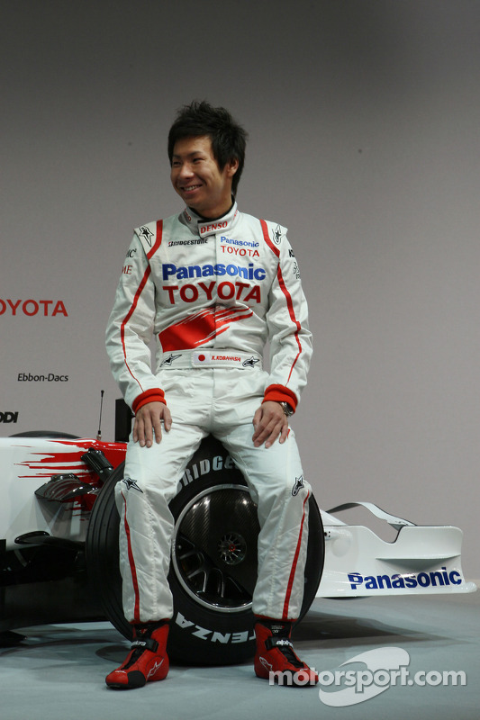 Kamui Kobayashi poses with the new Toyota TF108