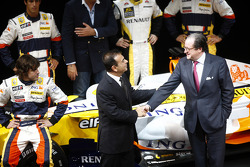 Flavio Briatore, Managing Director, Renault F1, Carlos Ghosn, Chairman of Renault, and Bernard Rey, Renault F1 Team President