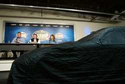 Unveiling of the commemorative car to celebrate the 10th anniversary of Dale Earnhardt's Daytona 500 win: Daytona International Speedway President Robin Braig, Richard Childress and Teresa Earnhardt