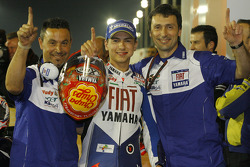 Pole winner Jorge Lorenzo celebrates