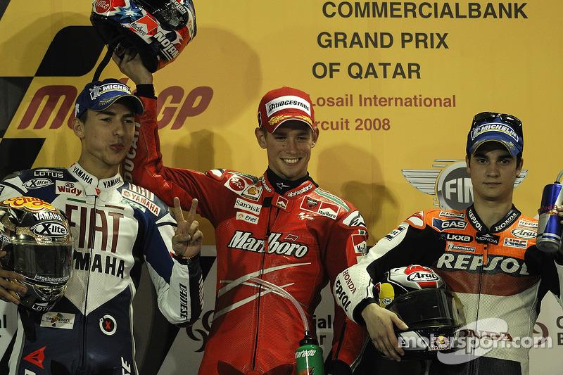 2008: 1. Casey Stoner, 2. Jorge Lorenzo, 3. Dani Pedrosa