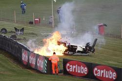 Massive crash for #55 Rob Austin Racing Ginetta: Hunter Abbott
