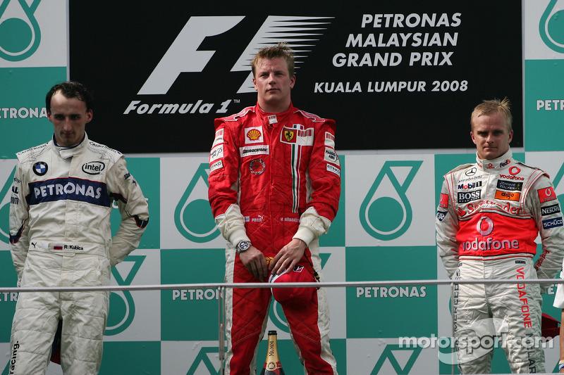 2008 : 1. Kimi Räikkönen, 2. Robert Kubica, 3. Heikki Kovalainen