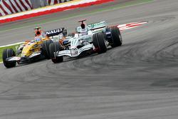 Jenson Button, Honda Racing F1 Team, RA108 and Nelson A. Piquet, Renault F1 Team, R28