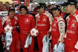 Sébastien Loeb, Daniel Elena, Daniel Sordo and Marc Marti with Football legend Diego Maradona