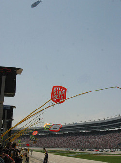 The blimp hovers over the massive crowd at Texas Motor Speedway