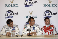 Post-qualifying press conference: pole winner Stéphane Sarrazin with Marc Gene and Allan McNish