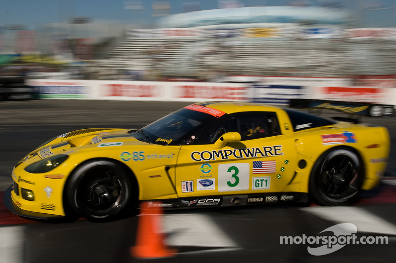 The Corvette C6.R scored 51 wins. Here are Johnny O'Connell and Jan Magnussen on their way to victory at Long Beach in 2008.