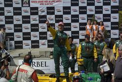 Race winner Will Power celebrates