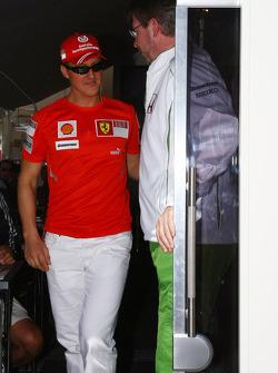 Michael Schumacher, Test Driver, Scuderia Ferrari visits Ross Brawn Team Principal, Honda Racing F1 Team