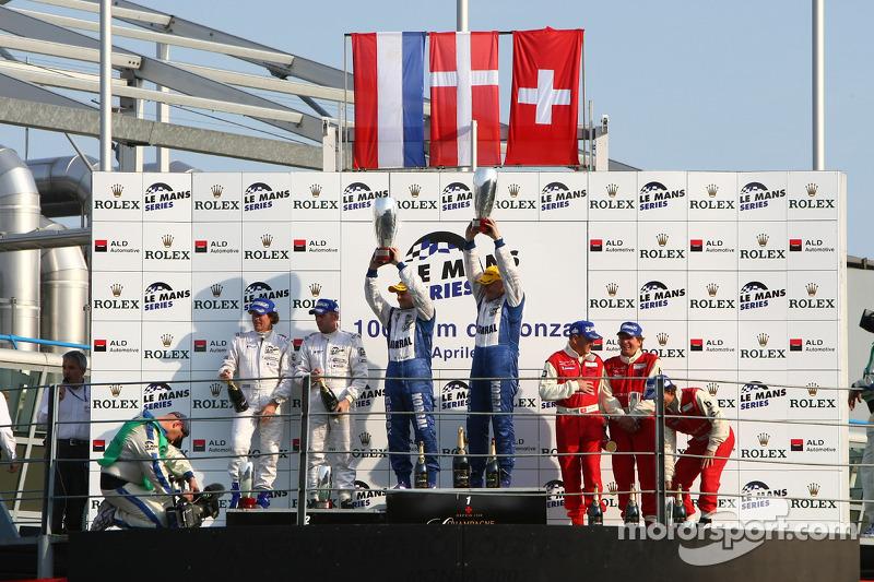LMP2 podium: class winners Casper Elgaard and John Nielsen, second place Jos Verstappen and Peter Van Merksteijn, third place Jan Lammers, Didier Theys and Fredy Lienhard