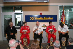 Penske press conference: Rick Mears, Ryan Briscoe, Roger Penske, Helio Castroneves and Tim Cindric