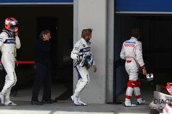 Robert Kubica, BMW Sauber F1 Team with Nick Heidfeld, BMW Sauber F1 Team and Jarno Trulli, Toyota Racing