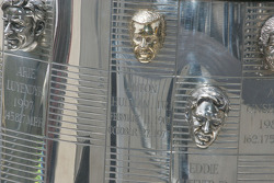 Tony Hulman's face is the only non-driver on the Borg Warner Trophy