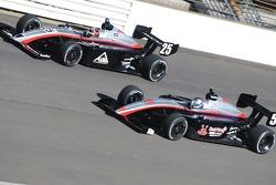 Teammates Andrew Prendeville and J.R. Hildebrand running together