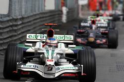 Jenson Button, Honda Racing F1 Team leads Sebastian Vettel, Scuderia Toro Rosso