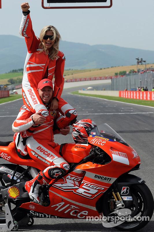 Maddalena Corvaglia and Randy Mamola at Italian GP