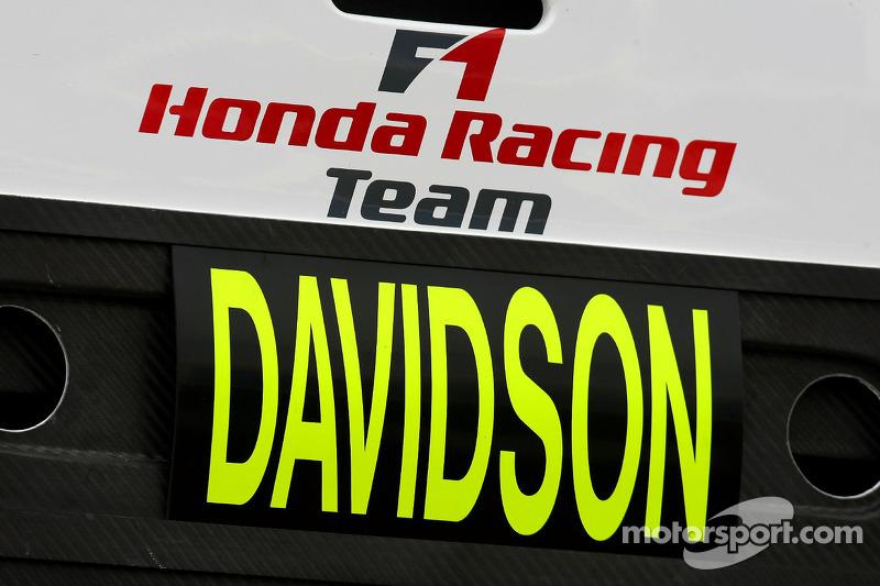 Anthony Davidson, Testing For Honda Racing F1 Team