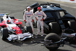 Timo Glock, Toyota F1 Team and Jarno Trulli, Toyota Racing with the F1 car the batmobile and the batbike