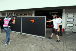 Closed doors at the garage of Lewis Hamilton, McLaren Mercedes