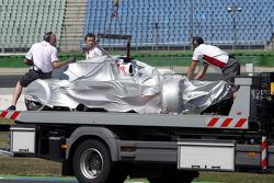 Giancarlo Fisichella, Force India F1 Team crashed in Sachs corner