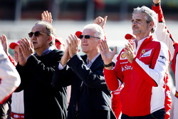 Maurizio Arrivabene, Team Principal Scuderia Ferrari, Piero Ferrari and Sergio Marchionne, Ferrari President and CEO of Fiat Chrysler Automobiles